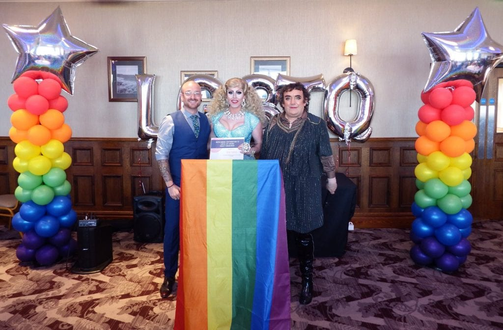 Left, ceremony host, Joni Valadares, Centre, Tess Tickle, Right, Chair of Sunderland LGBT Equality Forum, Shelley Izaks.
